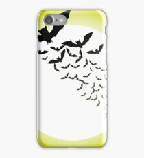 Bat silhouettes with full moon iPhone Case/Skin