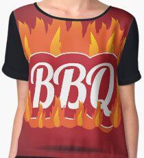Flaming fiery BBQ symbol Women's Chiffon Top