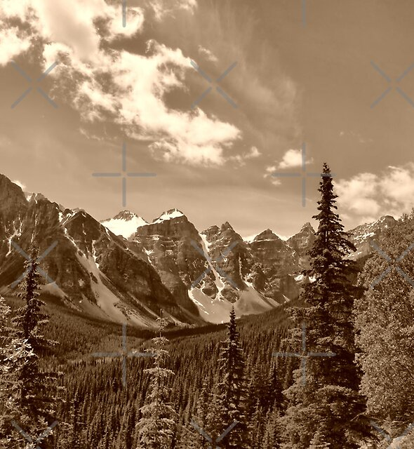 Valley of the Ten Peaks In Sepia by Vickie Emms