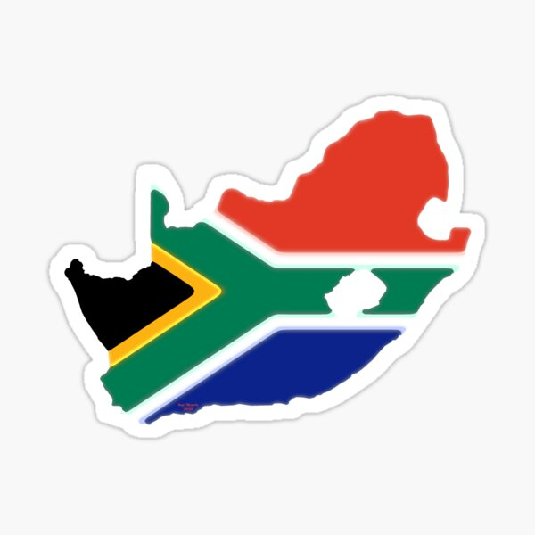 South Africa Map with South African Flag Sticker