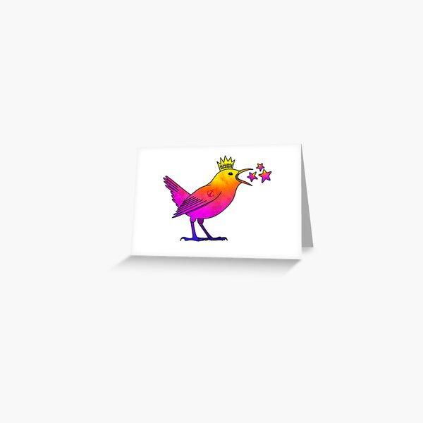 Rainbow wren with tattoo, crown and stars (without border) Greeting Card