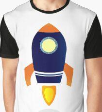 Blue Rocket ship. Vector cartoon Graphic T-Shirt