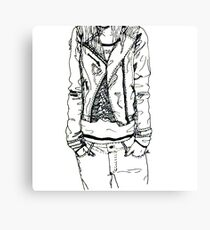Girl in JD Tee Doodle Canvas Print