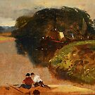 EDWARD HARGITT () River landscape with barges and figures by MotionAge Media