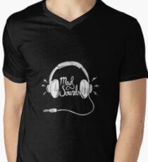 Mad Sounds White Men's V-Neck T-Shirt