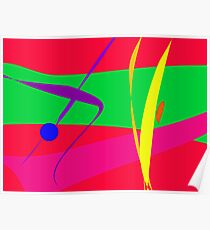Abstract Pattern Red and Green Contrast Poster