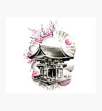 Japanese House Ink Illustration Photographic Print