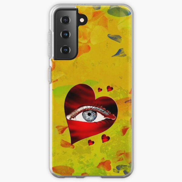 Legaculia phone case eye heart yellow Samsung Galaxy Soft Case