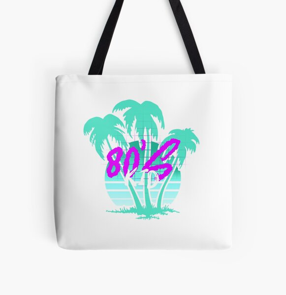 80's Kid Retro Vintage Synthwave Vaporwave 80s Style Sunset Palm Trees All Over Print Tote Bag