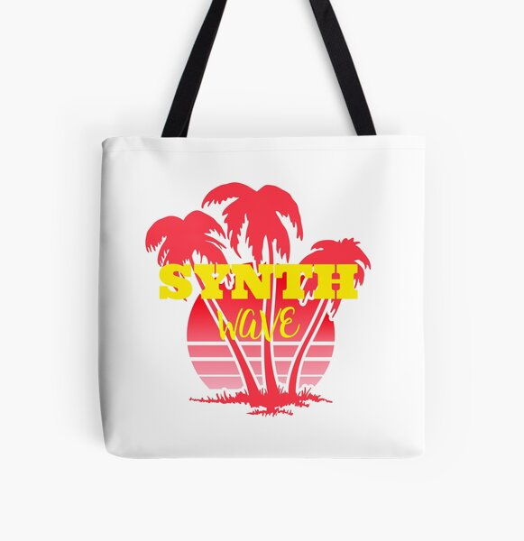 Retro Vintage Synthwave Vaporwave 80s Style Sunset Palm Trees All Over Print Tote Bag