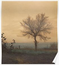 Leon Bonvin - Landscape With A Bare Tree And A Plowman 1864. Country landscape:  tree, village view, plowman, sky, rustic, fog, field, countryside road, trees, garden, flowers Poster