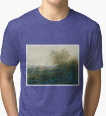 Leon Bonvin - Landscape With A Farmhouse And A Peasant Wheeling A Barrow 1865. Country landscape: village view, country, plowman, sky, rustic, fog, field, countryside road, trees, garden, flowers Tri-blend T-Shirt