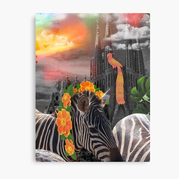 Garden of Zebras Digital collage Metal Print