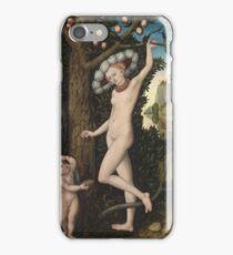 Lucas Cranach The Elder - Cupid Complaining To Venus. Woman portrait: sensual woman, greek, female style, pretty women, femine, beautiful dress, nude,  mythology, love, sexy lady, erotic pose iPhone Case/Skin