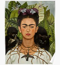 Self-Portrait with Thorn Necklace and Hummingbird  by Frida Kahlo Poster