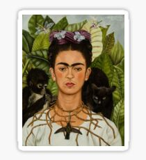 Self-Portrait with Thorn Necklace and Hummingbird  by Frida Kahlo Sticker