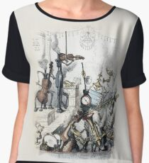Musical Instruments Come to Life - J J Grandville Women's Chiffon Top