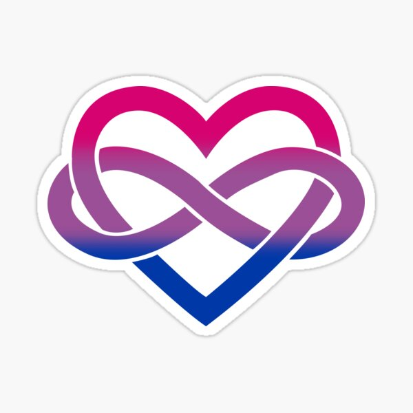 Bisexual Polyamory Infinity Heart (White) Sticker