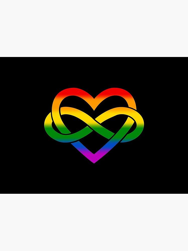 Rainbow Polyamory Infinity Heart (Black) by polyphiliashop