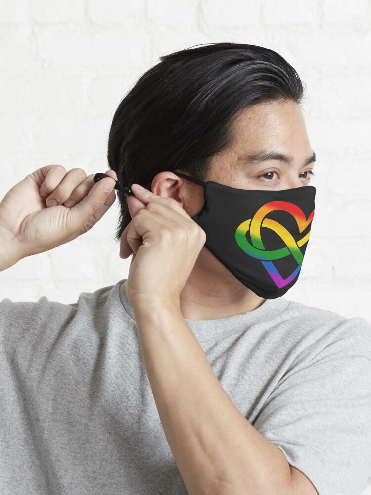 Alternate view of Rainbow Polyamory Infinity Heart (Black) Mask