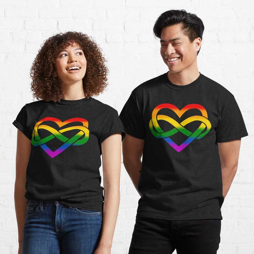 Rainbow Polyamory Infinity Heart (Black) Classic T-Shirt