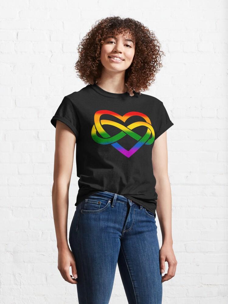 Alternate view of Rainbow Polyamory Infinity Heart (Black) Classic T-Shirt