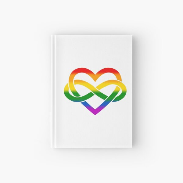 Rainbow Polyamory Infinity Heart (White) Hardcover Journal