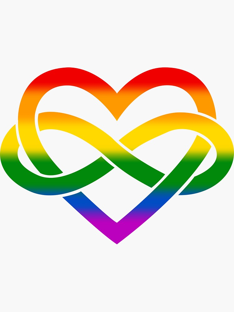Rainbow Polyamory Infinity Heart (White) by polyphiliashop