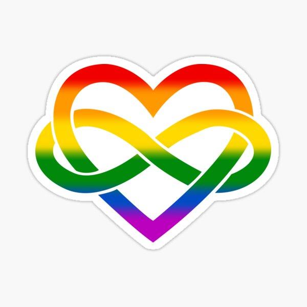 Rainbow Polyamory Infinity Heart (White) Sticker