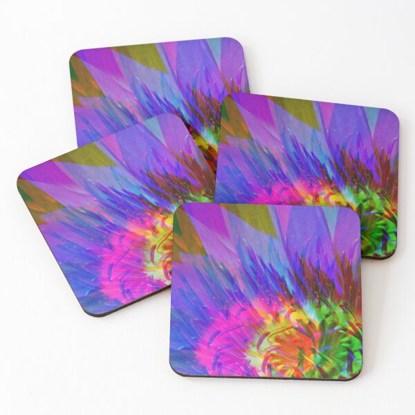 Abstract Water Lily Coasters (Set of 4)