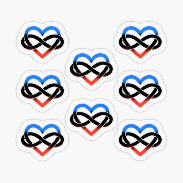 8x Polyamory Infinity Heart Transparent Sticker