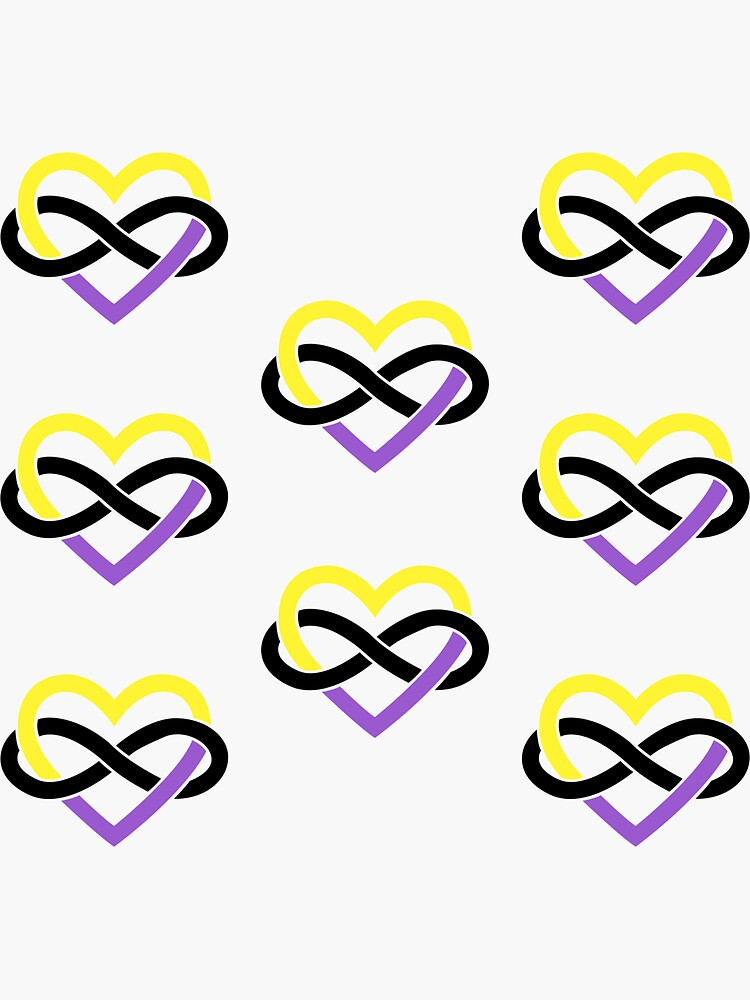 8x Nonbinary Polyamory Infinity Heart by polyphiliashop