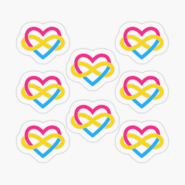 8x Pansexual Polyamory Infinity Heart Transparent Sticker