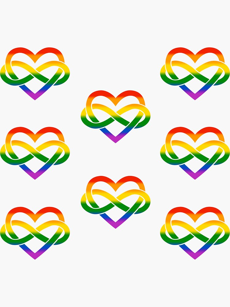 8x Rainbow Polyamory Infinity Heart by polyphiliashop