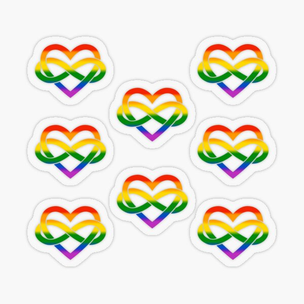 8x Rainbow Polyamory Infinity Heart Transparent Sticker