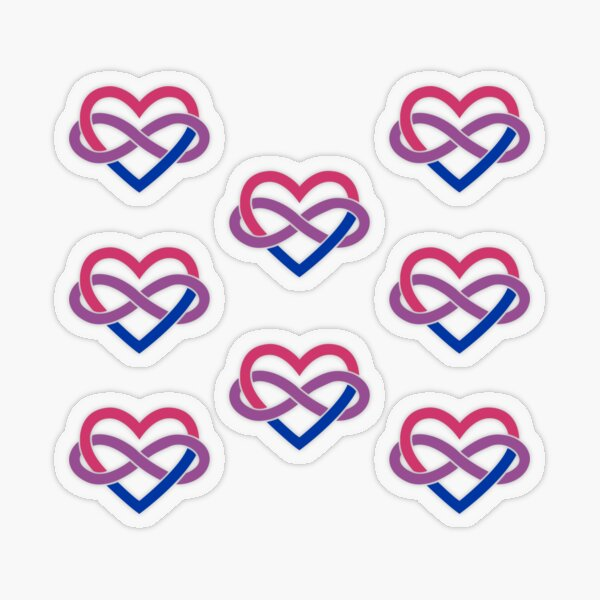 8x Bisexual Polyamory Infinity Heart Transparent Sticker