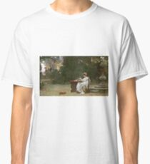 Marcus  Stone - Love At First Sight . Lovers portrait: lovers couple, woman and man, flirtation, garden, love relations, lovely couple, amorous, valentine's day, flowers, romance,  costume Classic T-Shirt