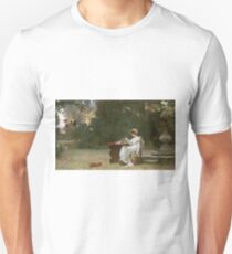 Marcus  Stone - Love At First Sight . Lovers portrait: lovers couple, woman and man, flirtation, garden, love relations, lovely couple, amorous, valentine's day, flowers, romance,  costume T-Shirt