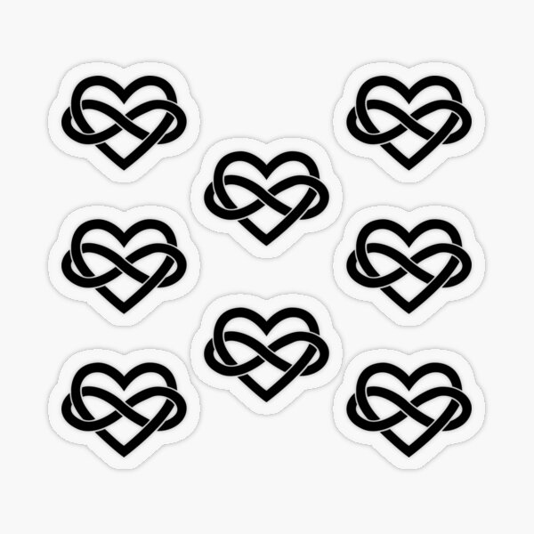 8x Black Polyamory Infinity Heart Transparent Sticker