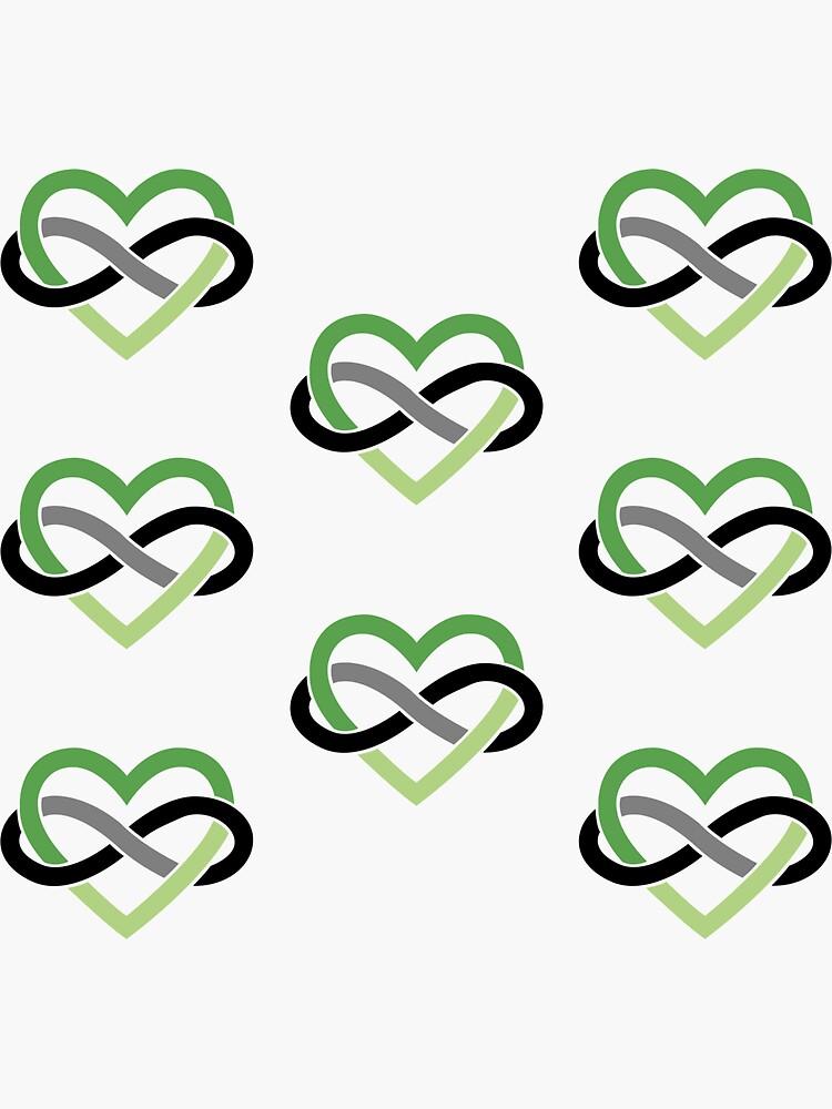 8x Aromantic Polyamory Infinity Heart by polyphiliashop