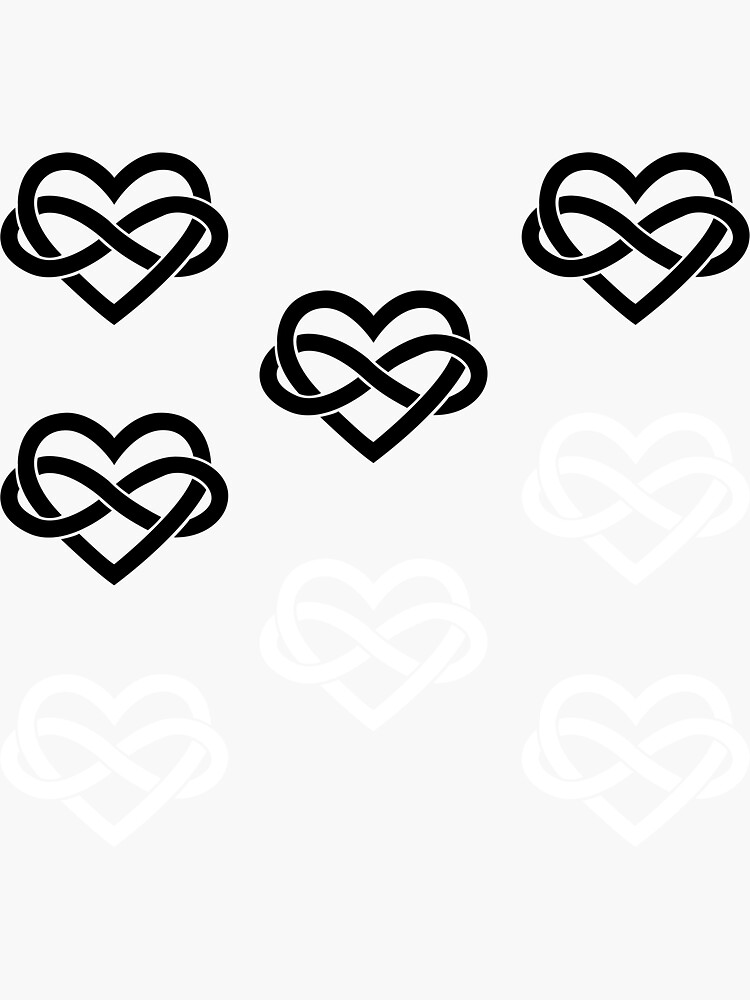 8x Black and White Polyamory Infinity Heart by polyphiliashop
