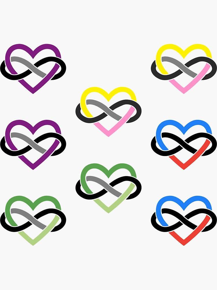8x Aroace Queerplatonic Polyamory Infinity Heart by polyphiliashop