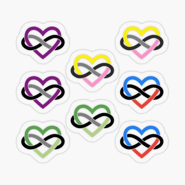 8x Aroace Queerplatonic Polyamory Infinity Heart Transparent Sticker