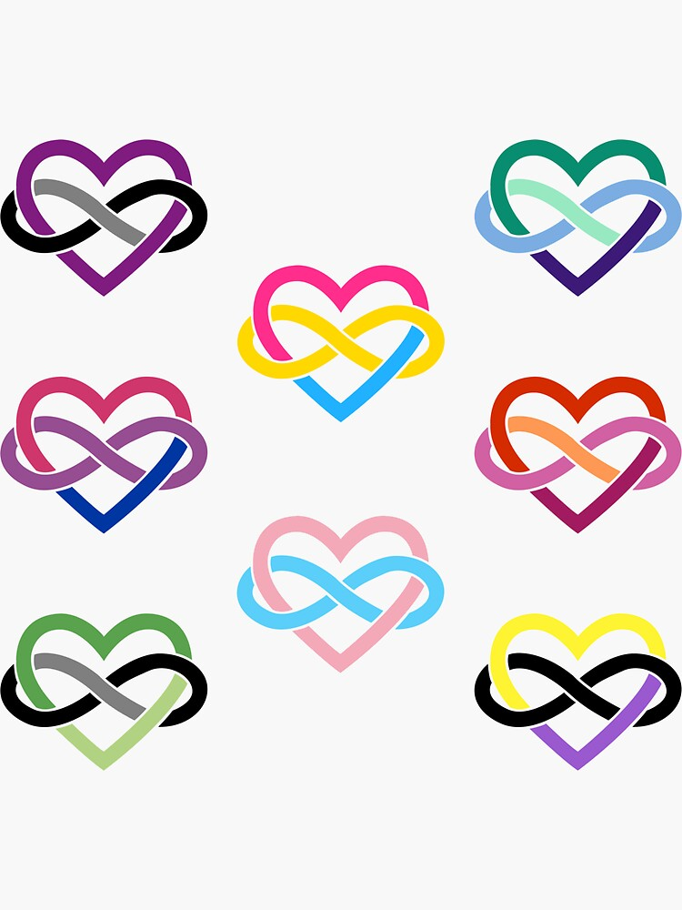 8x Queer LGBTQIA+ Polyamory Infinity Heart by polyphiliashop