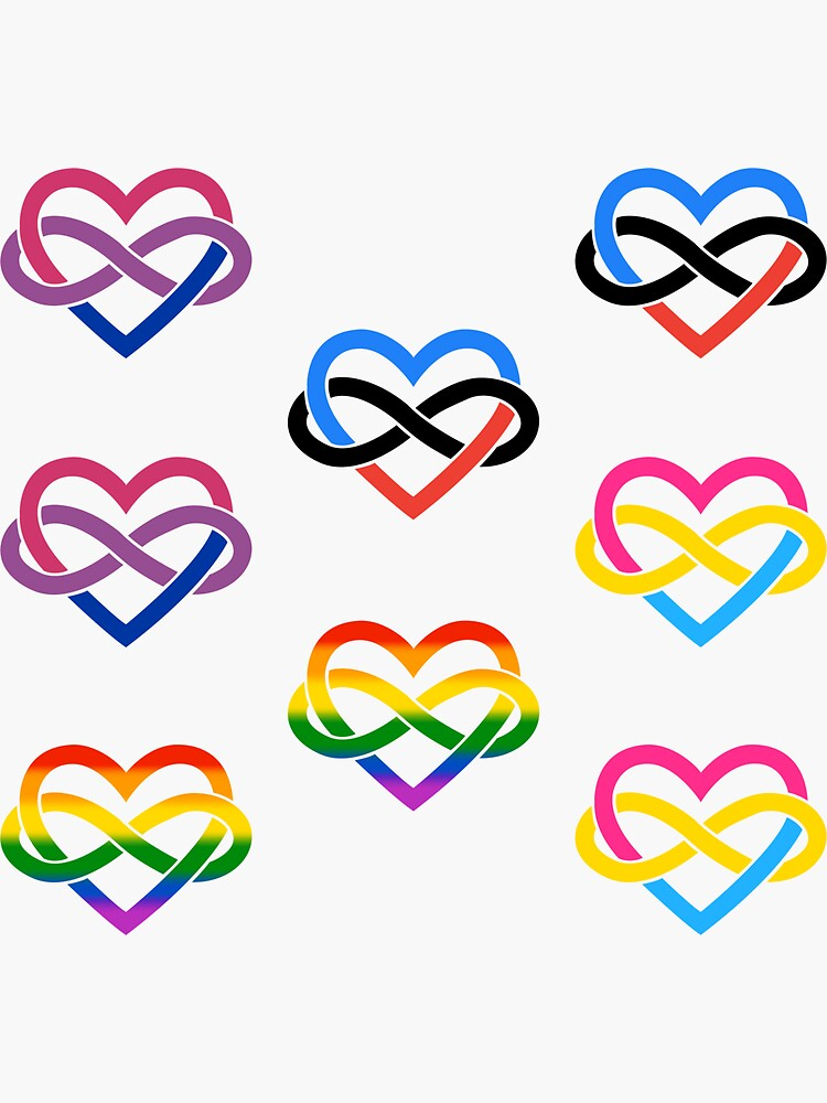 8x Bisexual Pansexual Polyamory Infinity Heart by polyphiliashop