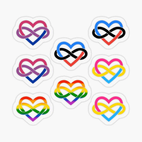 8x Bisexual Pansexual Polyamory Infinity Heart Transparent Sticker