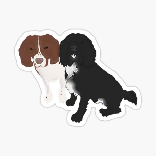 two dogs. springer and cocker spaniels Sticker