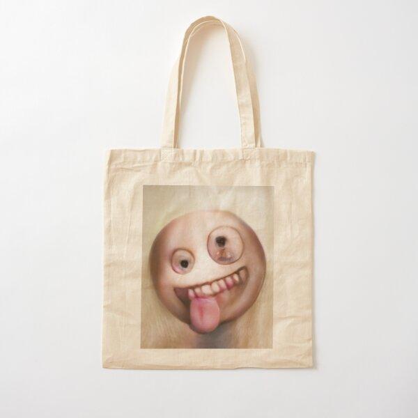 Human Emoji Crazy Eyes Tongue Cotton Tote Bag