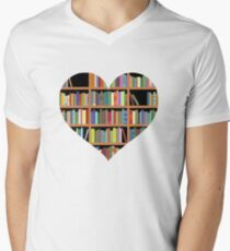 Books heart Mens V-Neck T-Shirt