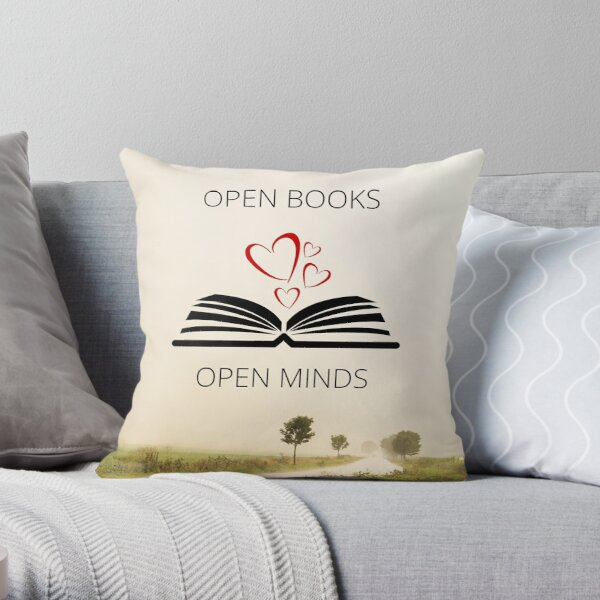 Open Books Open Minds Throw Pillow